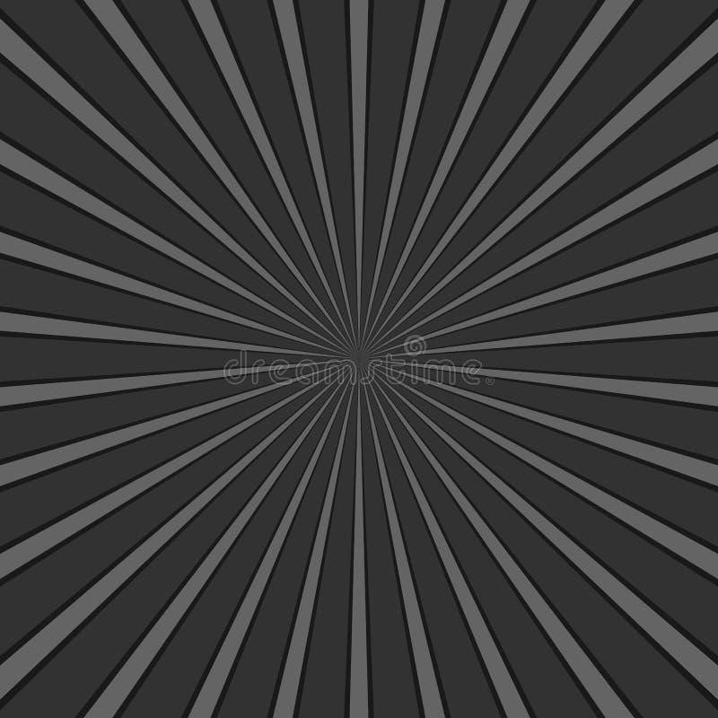 Zmroku promienia wybuchu popielaty abstrakcjonistyczny geometrical tło - retro wektorowa grafika z promieniowymi liniami royalty ilustracja