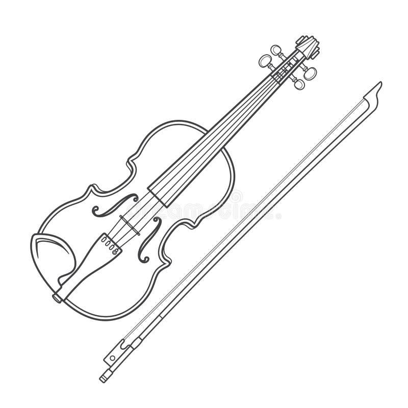 Zmroku skrzypki konturowy wektorowy skrzypce ilustracji