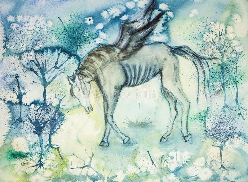 Znęcać się koń w desolated krajobrazie ilustracji