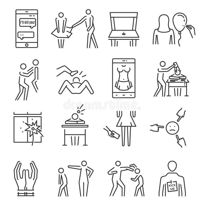 Znęcać się kreskowego ikona set ilustracji