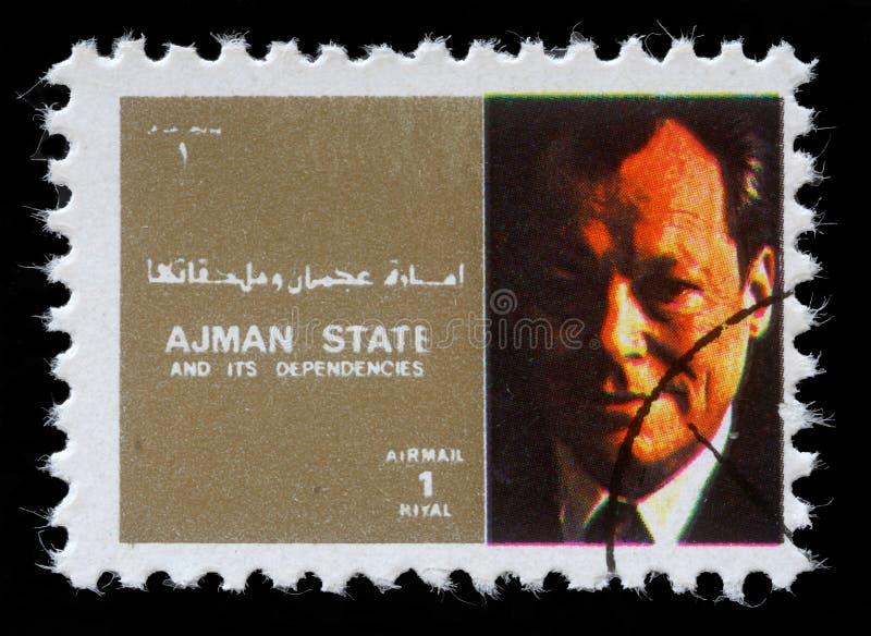 Znaczek drukujący Ajman pokazuje Willy Brandt fotografia royalty free