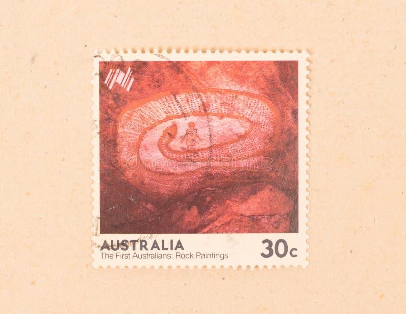 Znaczek drukujący w Australia pokazuje pierwszy australijczykowi rockowych obrazy około 1970, fotografia stock