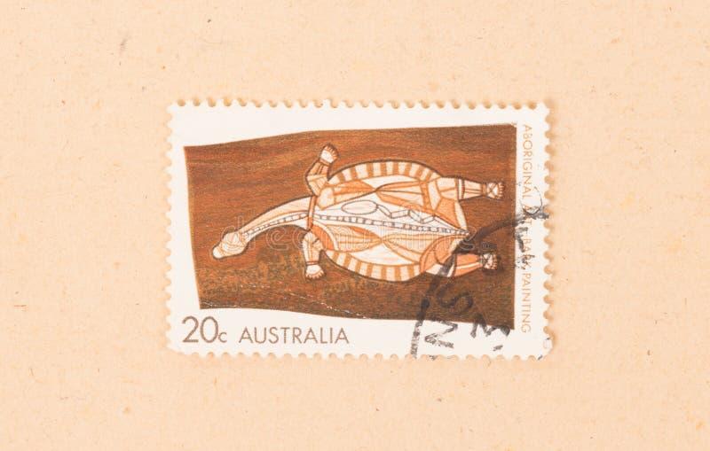 Znaczek drukujący w Australia pokazuje starego tubylczego obraz około 1980, zdjęcia stock