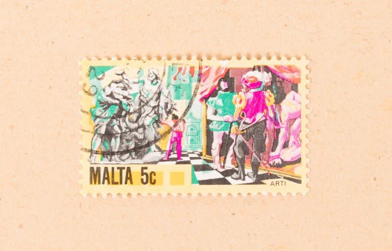 Znaczek drukujący w Malta pokazuje dziejową scenę około 1980, obrazy royalty free