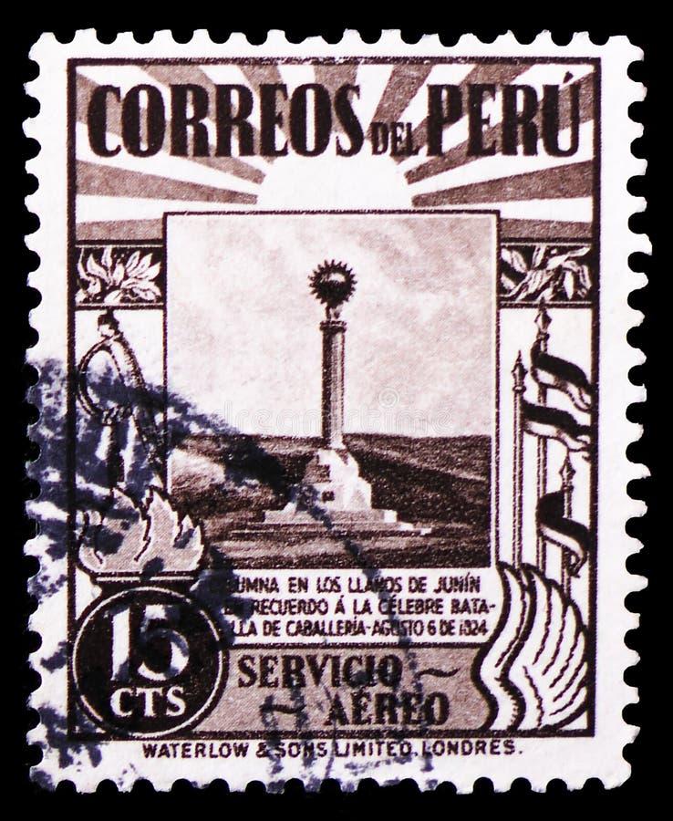 Znaczek drukujący w Peru pokazuje zabytek na równinach Junin, Lotniczej poczty 1938 znaczki: Krajów motywów seria około 1938, zdjęcie stock