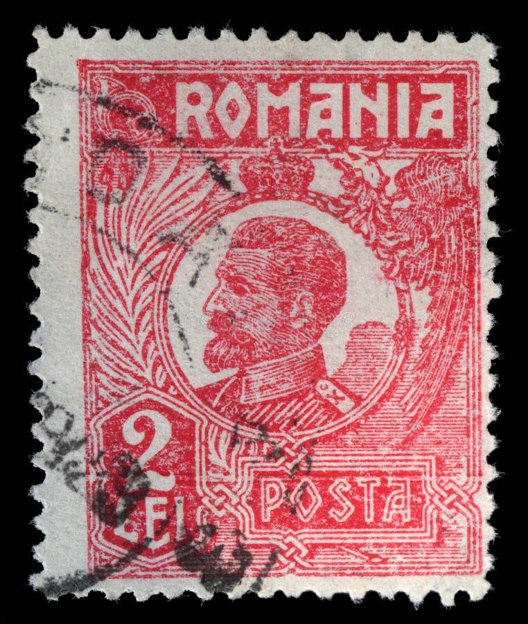 Znaczek drukujący w Rumunia pokazuje Ferdinand Mnie Rumunia zdjęcia stock