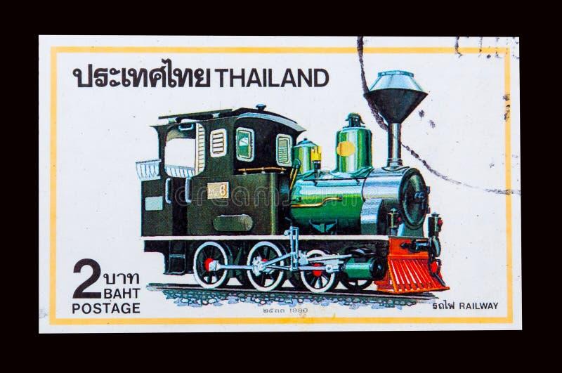 Znaczek drukujący w Tajlandia pokazuje wizerunek Tajlandzki Parowej lokomotywy rok 1990 obraz stock