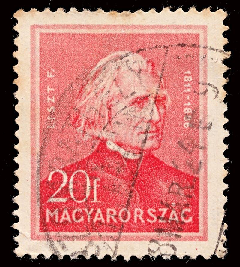 Znaczek drukujący w Węgry pokazuje Ferenc Franz Liszt 1811-1886 kompozytora, osobowości seria około 1932, zdjęcia stock