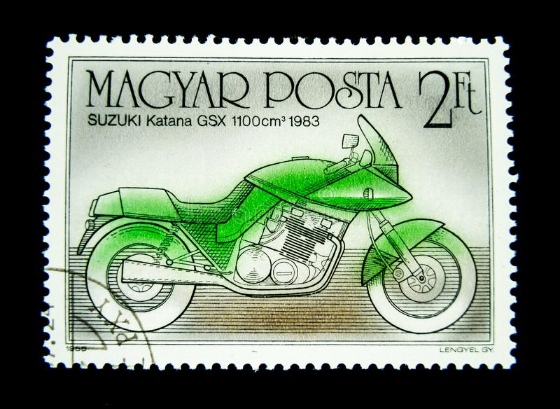 Znaczek drukujący w Węgry pokazuje wizerunek zielony SUZUKI Katana GSX 1100cm3 1983 motocykl obraz stock
