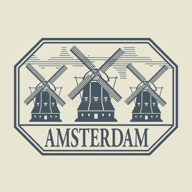 Znaczek lub etykietka z słowem Amsterdam inside ilustracji