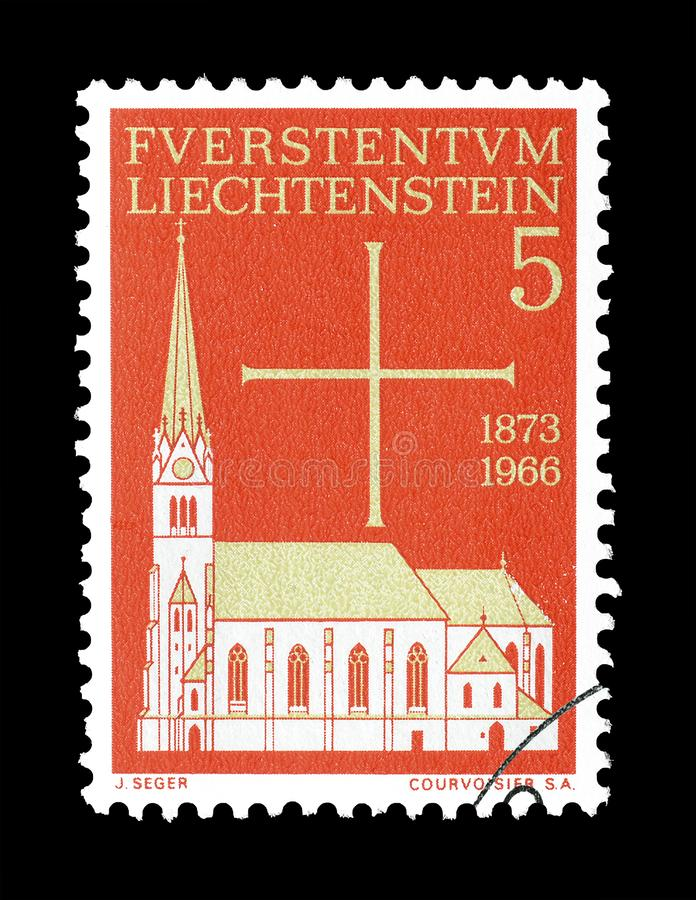 Znaczek pocztowy drukujący Liechtenstein zdjęcie royalty free