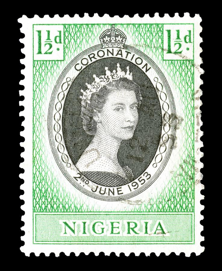 Znaczek pocztowy drukujący Nigeria fotografia stock
