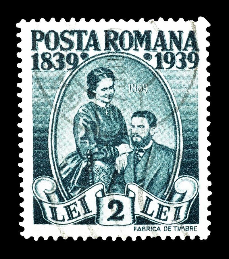Znaczek pocztowy drukuj?cy Rumunia zdjęcie stock