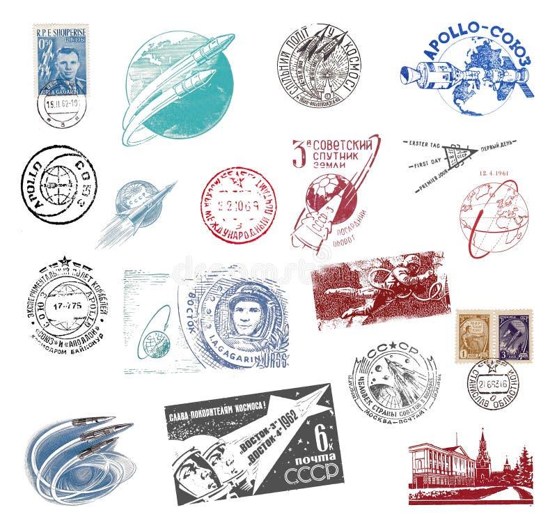 Znaczek pocztowy i etykietki od Sowieci - zjednoczenie ilustracji