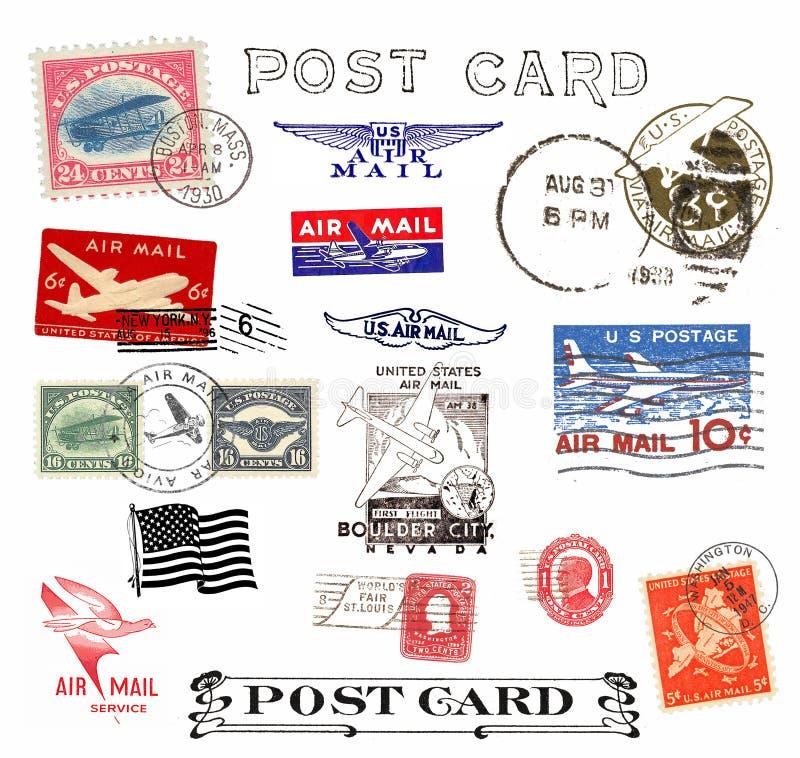 Znaczek pocztowy i etykietki od USA ilustracji