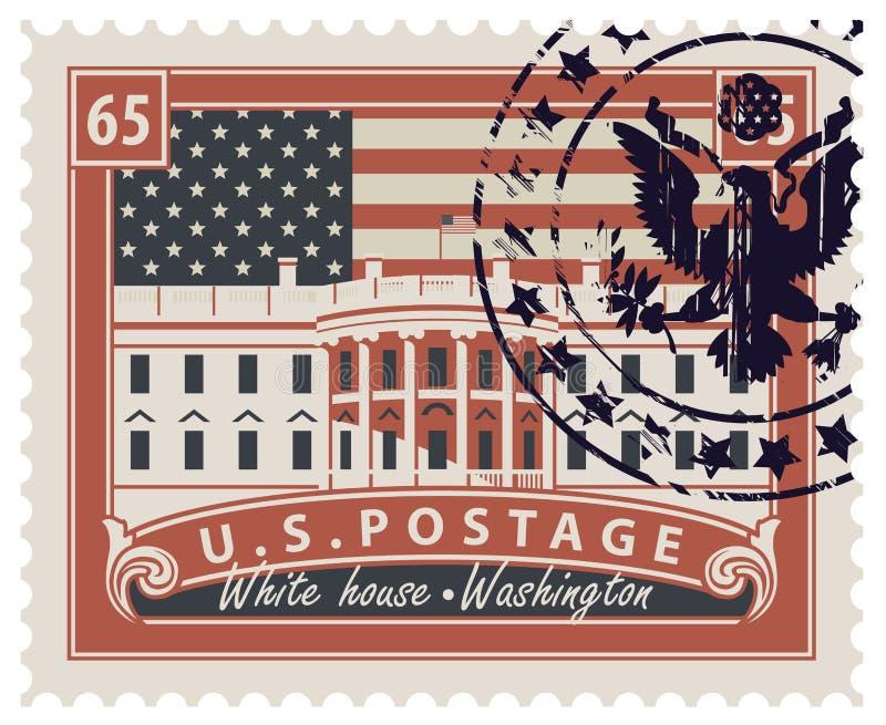 Znaczek pocztowy z bielu domem w washington dc ilustracja wektor