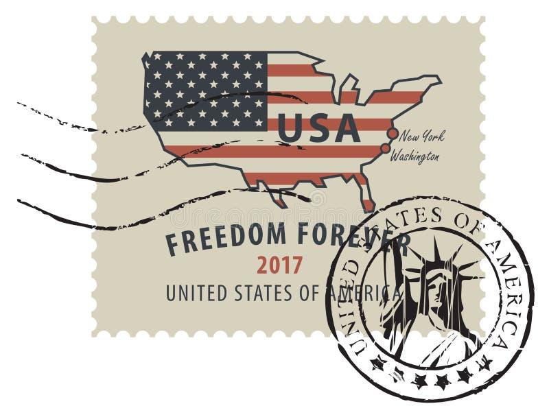 Znaczek pocztowy z flagą amerykańską w formie USA mapa ilustracja wektor