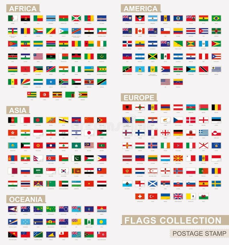 Znaczek pocztowy z flagami świat Set 229 światów flaga ilustracja wektor