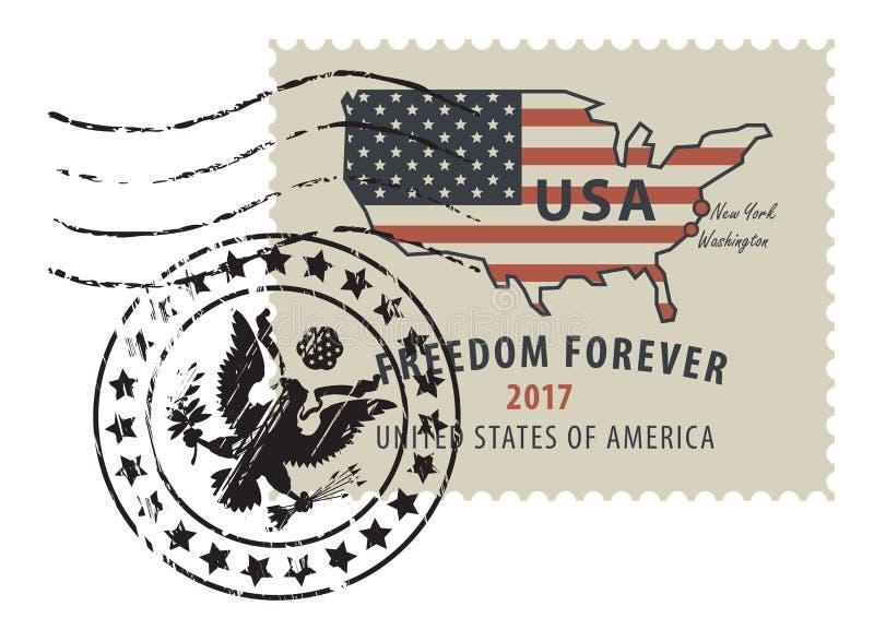 Znaczek pocztowy z mapą usa w kolorach flaga ilustracja wektor