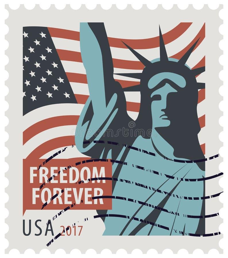 Znaczek pocztowy z statuy wolności i flaga usa royalty ilustracja