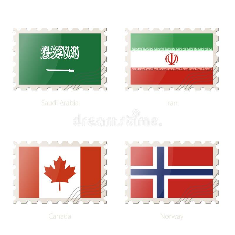 Znaczek pocztowy z wizerunkiem Arabia Saudyjska, Iran, Kanada, Norwegia flaga royalty ilustracja