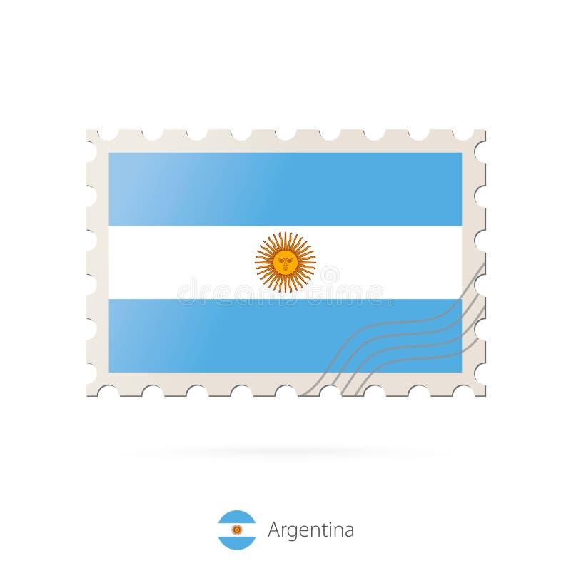 Znaczek pocztowy z wizerunkiem Argentyna flaga ilustracja wektor