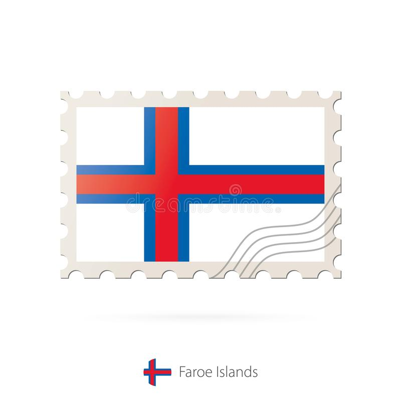 Znaczek pocztowy z wizerunkiem Faroe wyspy zaznacza ilustracja wektor