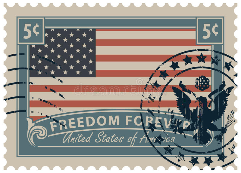 Znaczek pocztowy z wizerunkiem flaga amerykańska royalty ilustracja