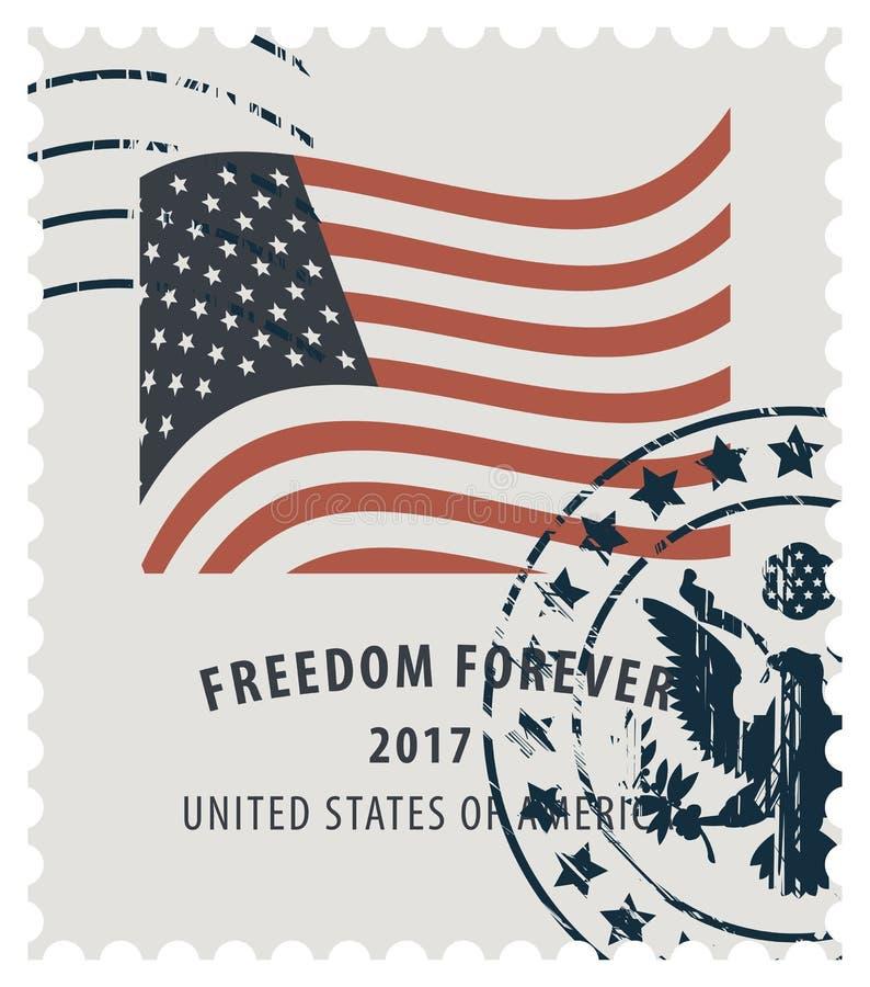 Znaczek pocztowy z wizerunkiem flaga amerykańska ilustracji