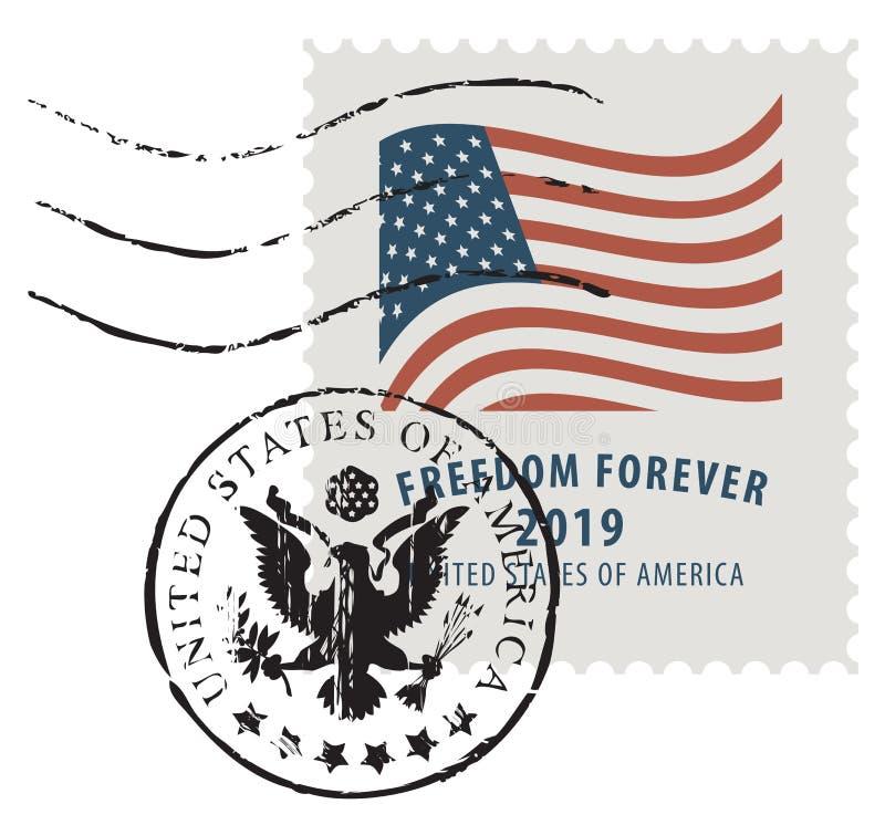 Znaczek pocztowy z wizerunkiem flaga ameryka?ska royalty ilustracja