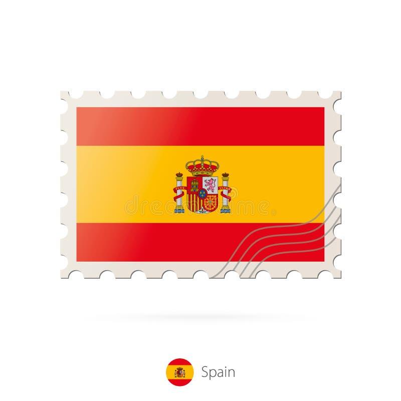 Znaczek pocztowy z wizerunkiem Hiszpania flaga royalty ilustracja
