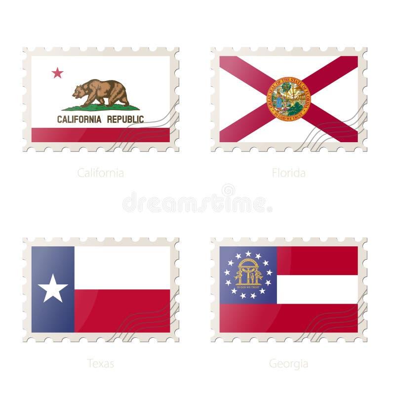 Znaczek pocztowy z wizerunkiem Kalifornia, Floryda, Teksas, Gruzja stanu flaga ilustracja wektor