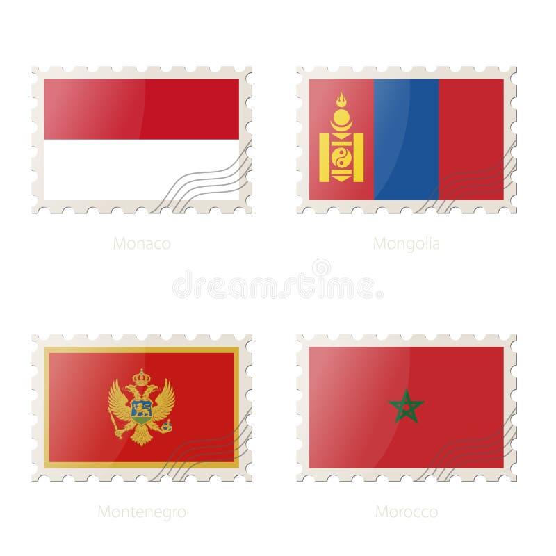 Znaczek pocztowy z wizerunkiem Monaco, Mongolia, Montenegro, Maroko flaga ilustracja wektor