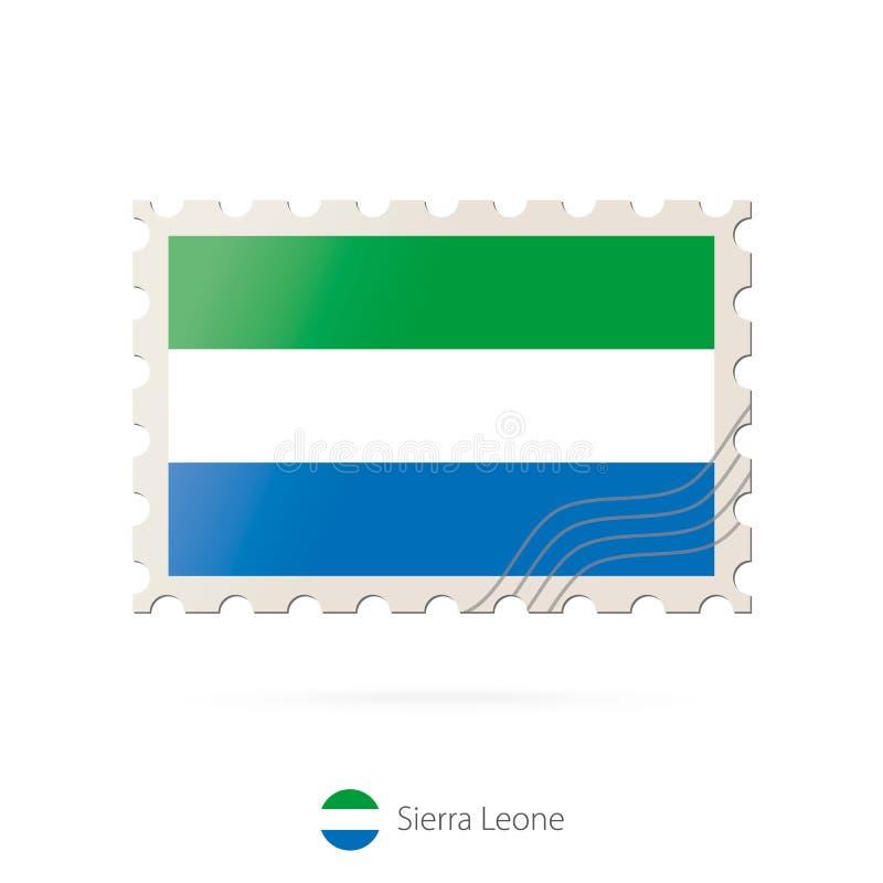 Znaczek pocztowy z wizerunkiem Sierra Leone flaga ilustracja wektor