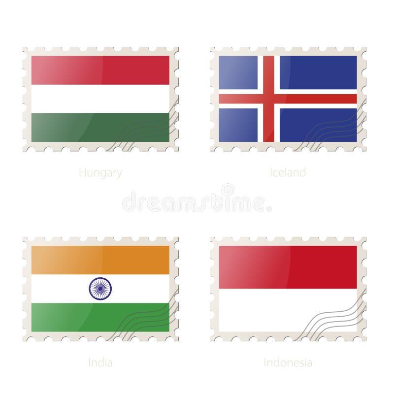 Znaczek pocztowy z wizerunkiem Węgry, Iceland, India, Indonezja flaga royalty ilustracja