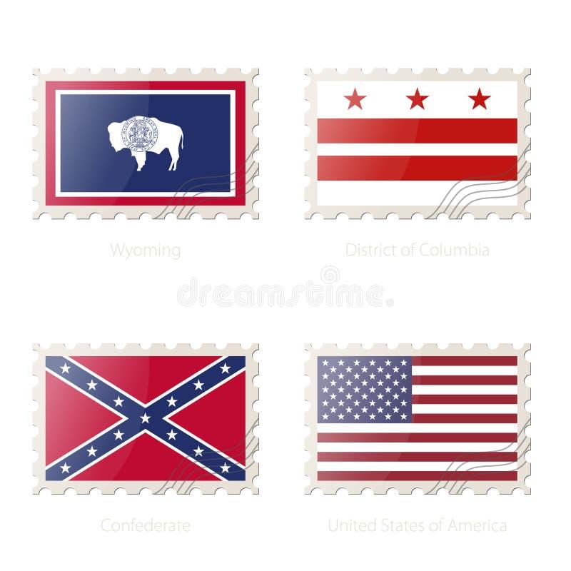 Znaczek pocztowy z wizerunkiem Wyoming, dystrykt kolumbii, konfederat, Stany Zjednoczone Ameryka flaga royalty ilustracja