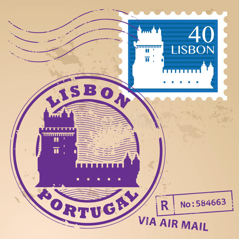 Znaczek ustalony Lisbon ilustracja wektor