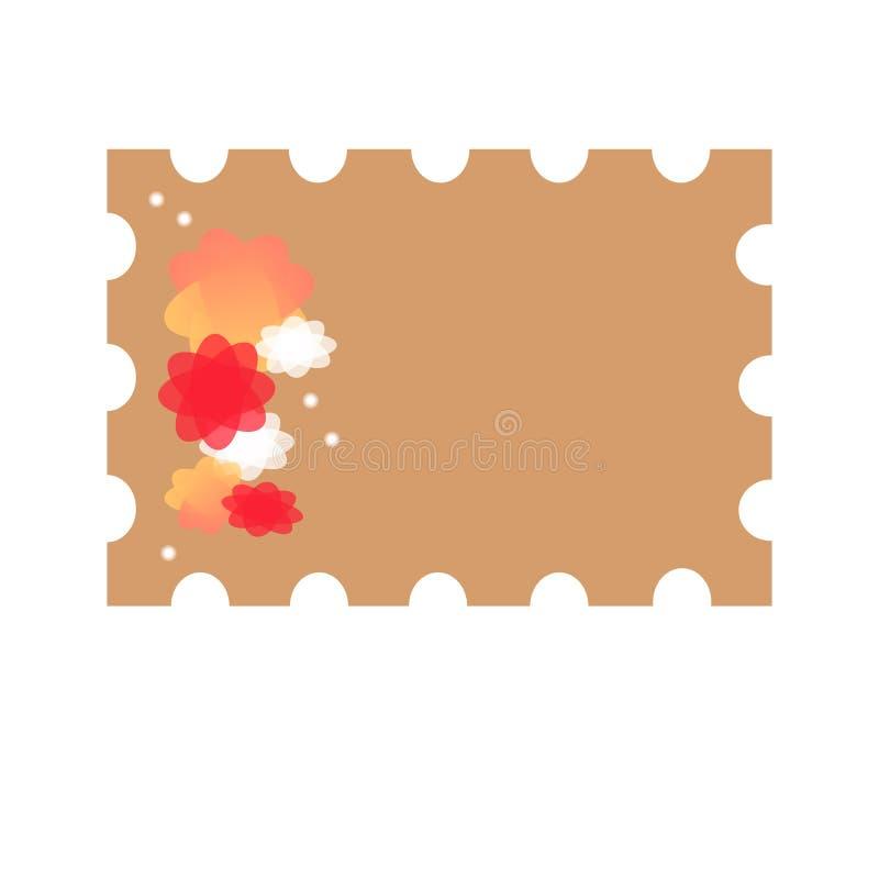 znaczek z kwiatami dla listów royalty ilustracja