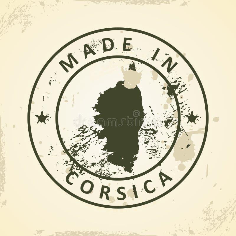 Znaczek z mapą Corsica royalty ilustracja