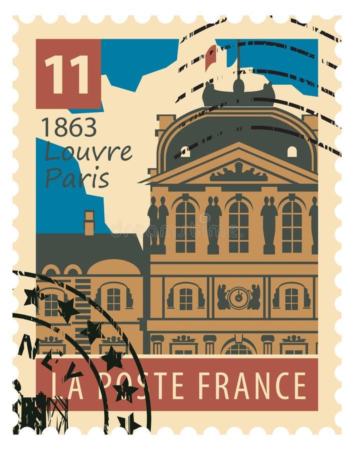 Znaczek z Paryski louvre ilustracja wektor