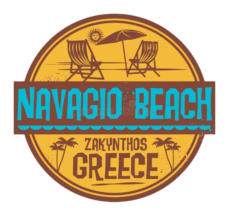 Znaczek z słowa Navagio plażą, Grecja pisać inside ilustracji