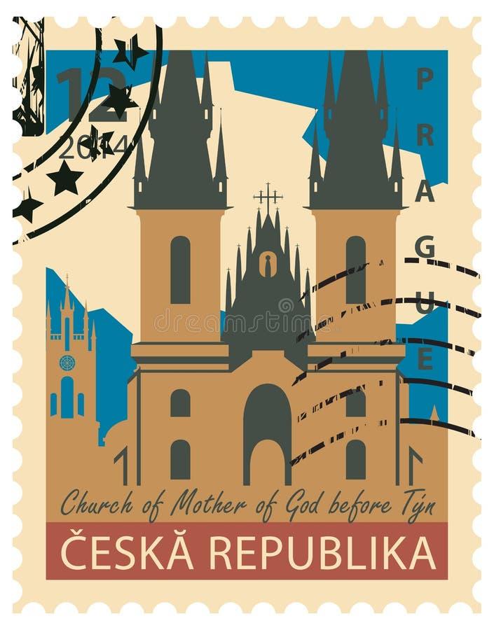 Znaczek z wizerunkiem Praga ilustracji