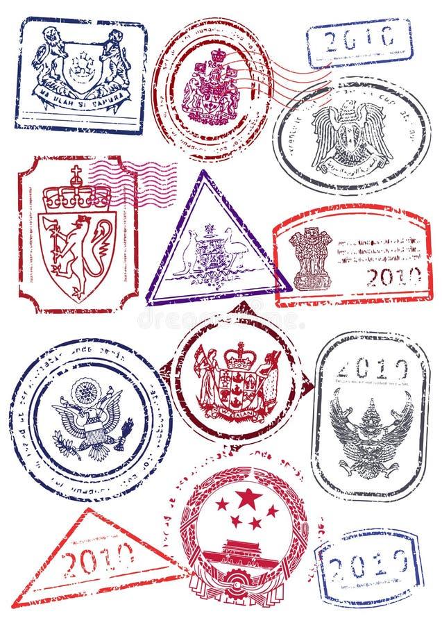znaczka międzynarodowy paszportowy ustalony wektor ilustracja wektor