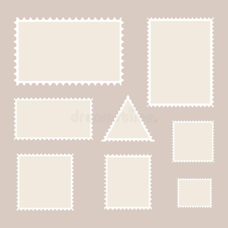 Znaczka pocztowego szablon pustego setu znaczki ilustracji