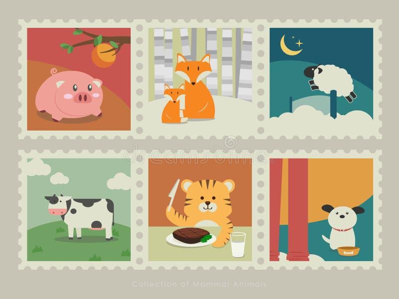 Znaczki ssaków zwierzęta 3 ilustracji