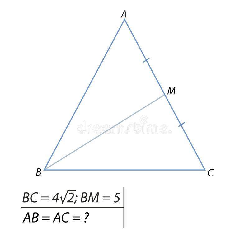 Znajdować stronę równoramienny trójbok ilustracja wektor