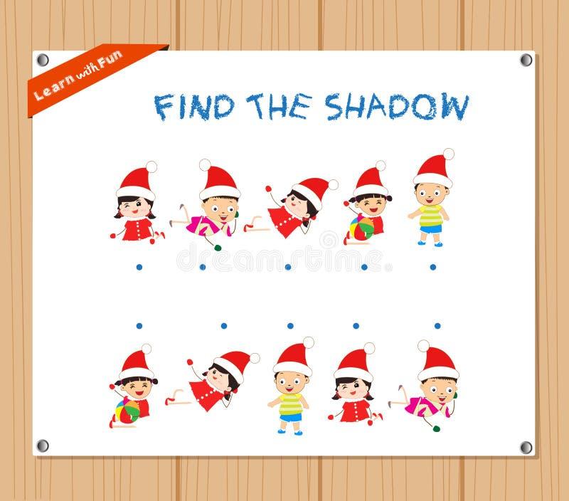 Znajduje cień Edukacyjnej aktywności zadanie dla Preschool dzieci z boże narodzenie dzieciakami ilustracja wektor