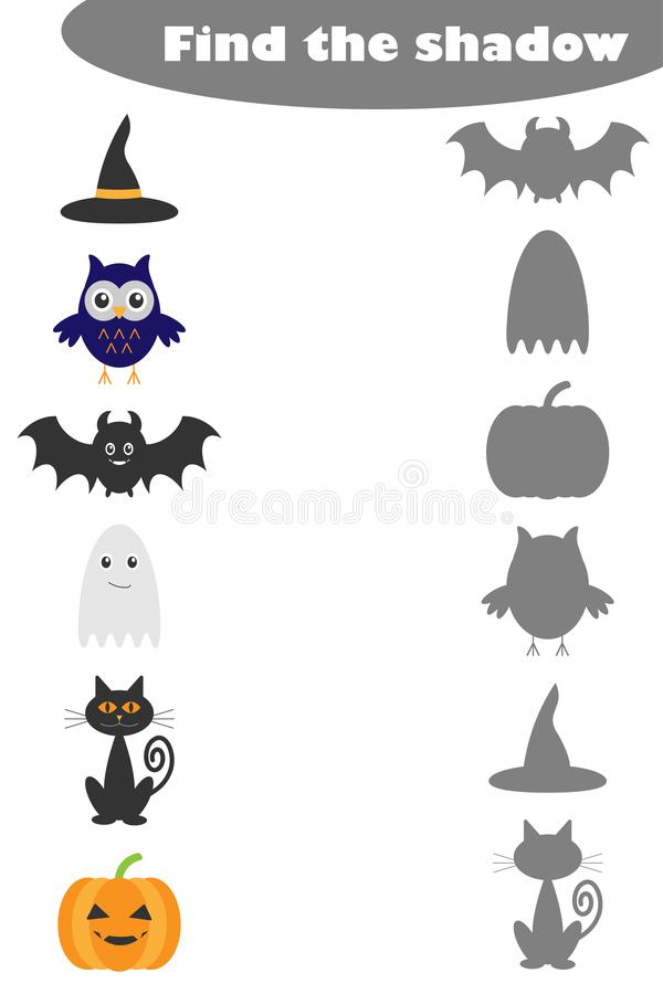 Znajduje cień grę z Halloween obrazkami dla dzieci, edukaci dopasowywania gra dla dzieciaków, preschool worksheet aktywność, zada royalty ilustracja