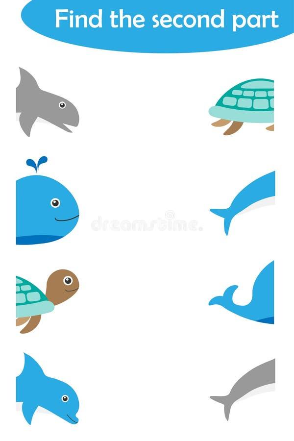 Znajduje drugi część oceanów zwierzęta dla dzieci, zabawy edukacji gra dla dzieciaków, edukacyjny zadanie dla rozwoju logiczny royalty ilustracja
