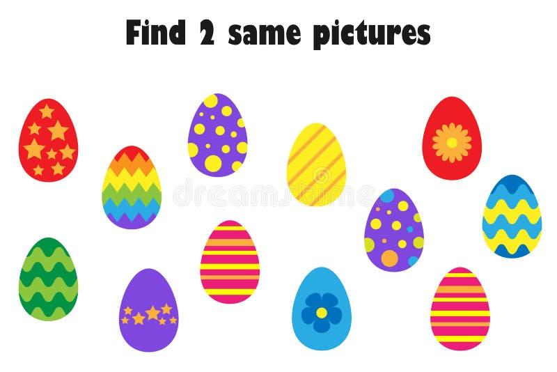 Znajduje dwa identycznego obrazka, zabawy edukacji gra z Easter jajkami w kreskówka stylu dla dzieci, preschool worksheet aktywno royalty ilustracja